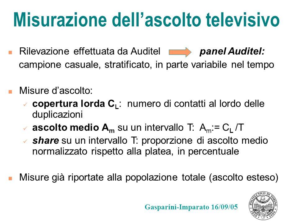 Misurazione dellascolto televisivo Rilevazione effettuata da Auditel panel Auditel: campione casuale, stratificato, in parte variabile nel tempo Misur