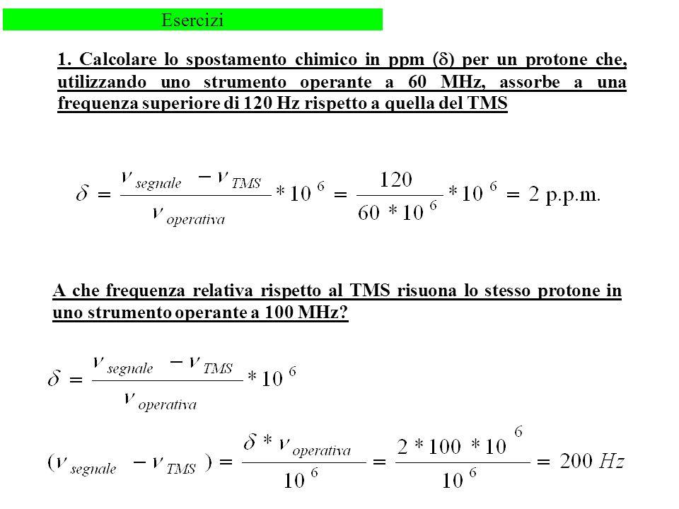 1. Calcolare lo spostamento chimico in ppm ( ) per un protone che, utilizzando uno strumento operante a 60 MHz, assorbe a una frequenza superiore di 1