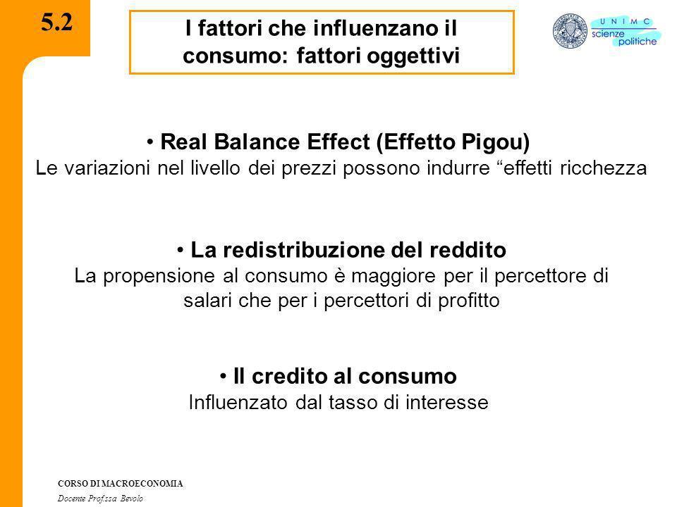 CORSO DI MACROECONOMIA Docente Prof.ssa Bevolo 5.2.1 I fattori che influenzano il consumo: fattori soggettivi Effetto dimostrazione (Duesemberry) Il consumo dipende dalla posizione sociale degli individui Reddito permanente (M.