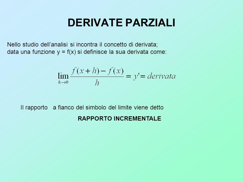 DERIVATE PARZIALI Nello studio dellanalisi si incontra il concetto di derivata; data una funzione y = f(x) si definisce la sua derivata come: Il rappo