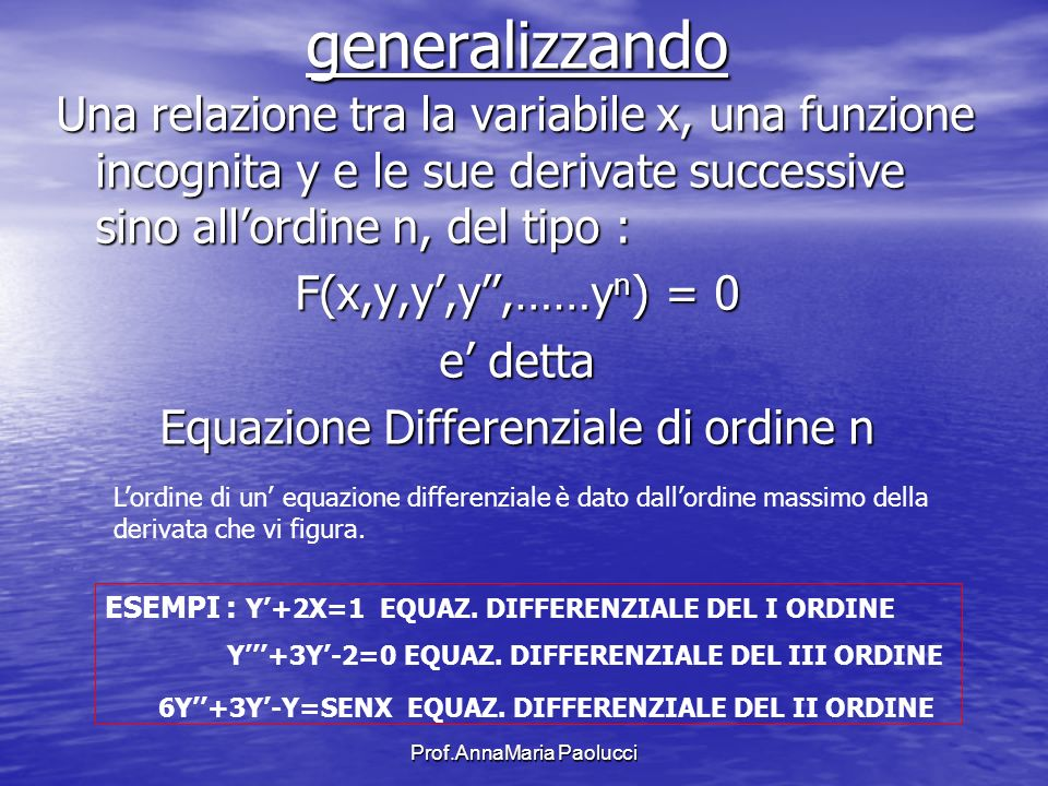 Prof.AnnaMaria Paolucci generalizzando Una relazione tra la variabile x, una funzione incognita y e le sue derivate successive sino allordine n, del t