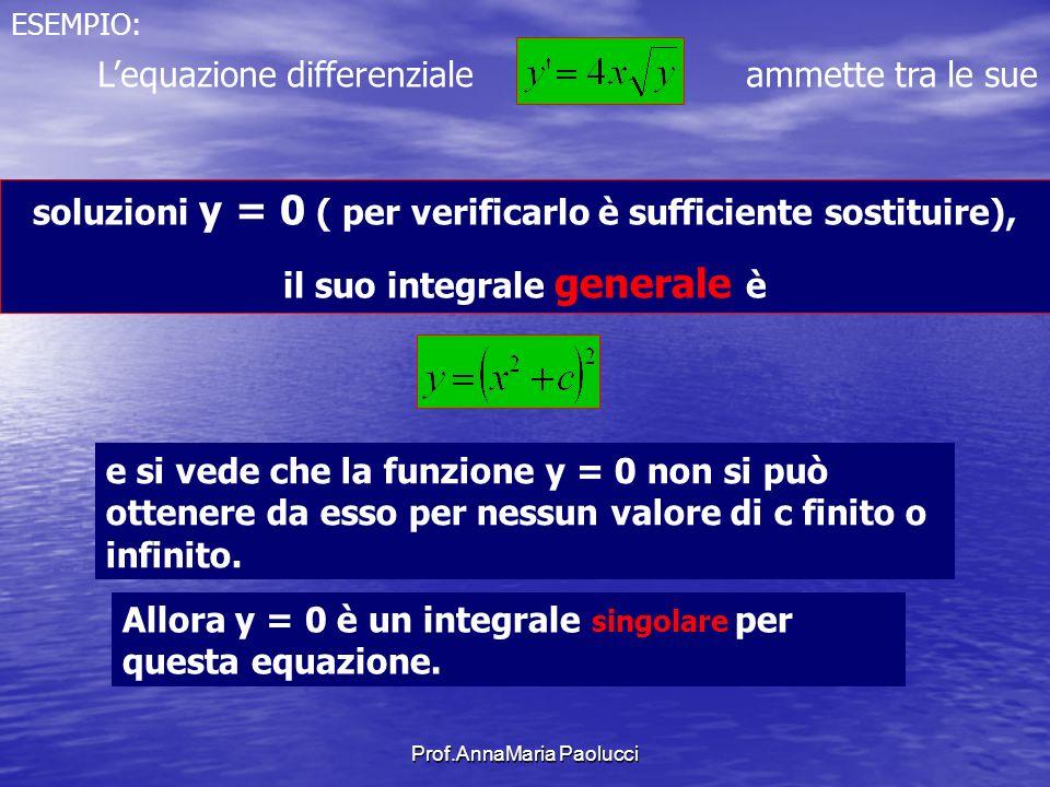 Prof.AnnaMaria Paolucci ESEMPIO: Lequazione differenziale ammette tra le sue soluzioni y = 0 ( per verificarlo è sufficiente sostituire), il suo integ