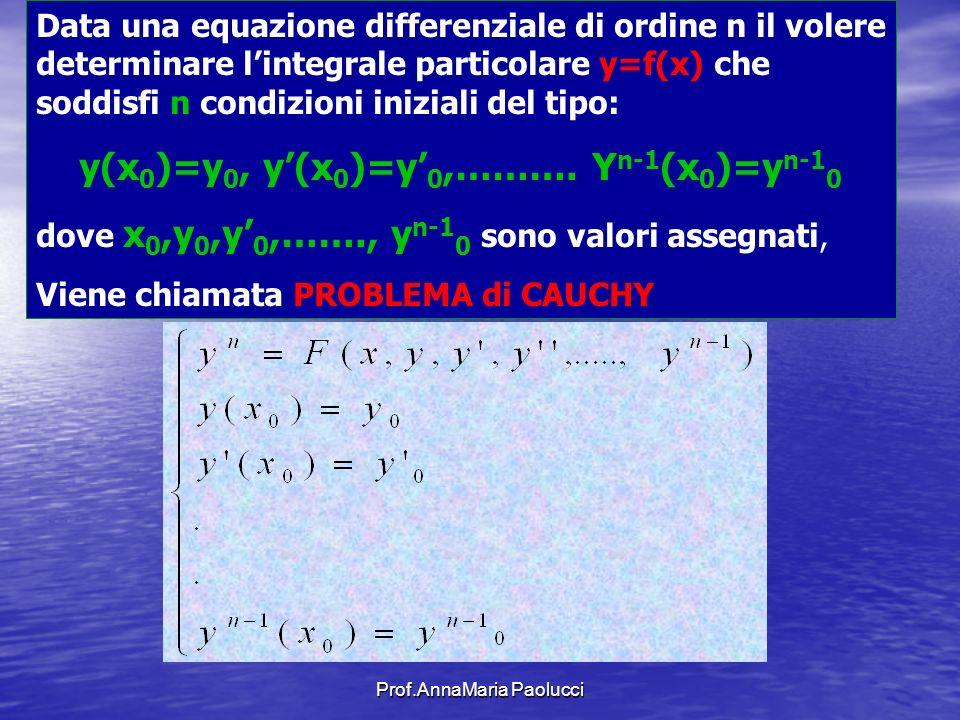 Prof.AnnaMaria Paolucci Data una equazione differenziale di ordine n il volere determinare lintegrale particolare y=f(x) che soddisfi n condizioni ini