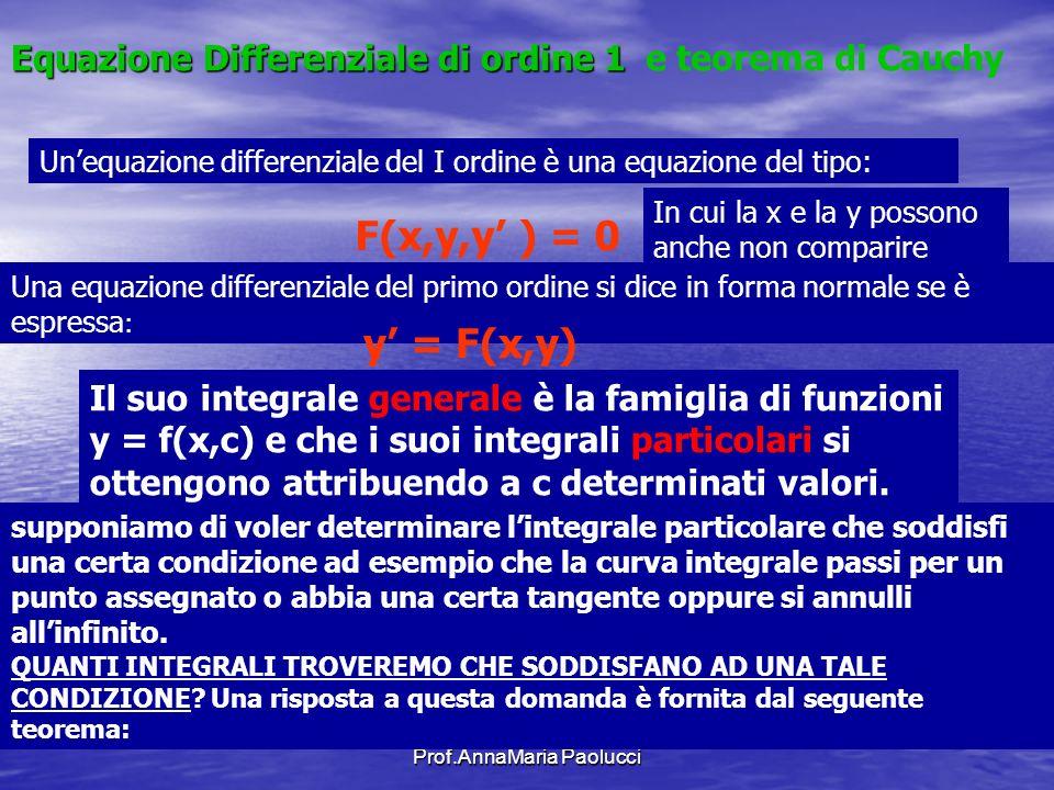Prof.AnnaMaria Paolucci Equazione Differenziale di ordine 1 e teorema di Cauchy Unequazione differenziale del I ordine è una equazione del tipo: F(x,y