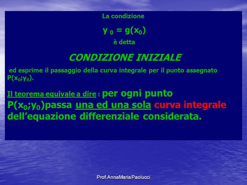 Prof.AnnaMaria Paolucci La condizione y 0 = g(x 0 ) è detta CONDIZIONE INIZIALE ed esprime il passaggio della curva integrale per il punto assegnato P