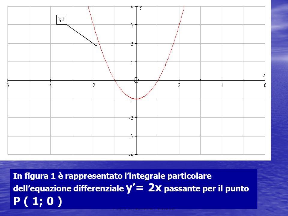 Prof.AnnaMaria Paolucci In figura 1 è rappresentato lintegrale particolare dellequazione differenziale y= 2x passante per il punto P ( 1; 0 )