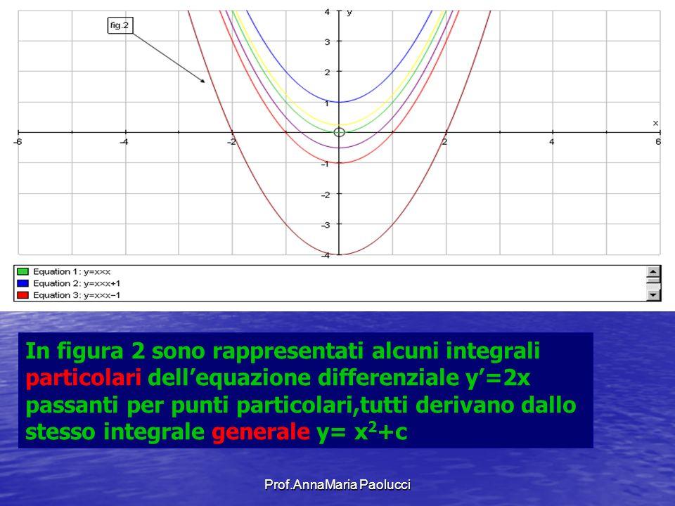 Prof.AnnaMaria Paolucci In figura 2 sono rappresentati alcuni integrali particolari dellequazione differenziale y=2x passanti per punti particolari,tu