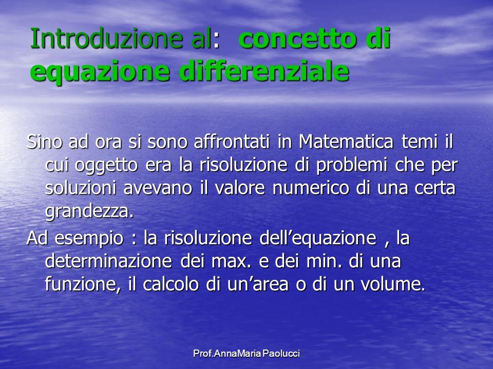 Introduzione al: concetto di equazione differenziale Sino ad ora si sono affrontati in Matematica temi il cui oggetto era la risoluzione di problemi c