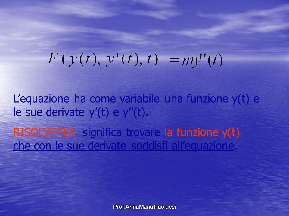Prof.AnnaMaria Paolucci Lequazione ha come variabile una funzione y(t) e le sue derivate y(t) e y(t). RISOLVERLA significa trovare la funzione y(t) ch