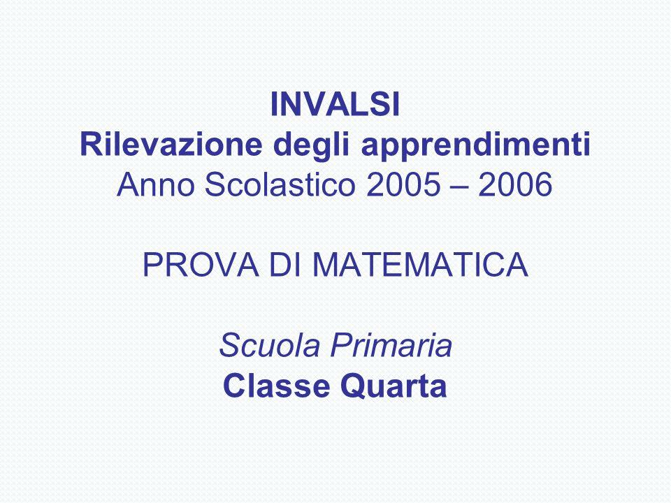 INVALSI Rilevazione degli apprendimenti Anno Scolastico 2005 – 2006 PROVA DI MATEMATICA Scuola Primaria Classe Quarta