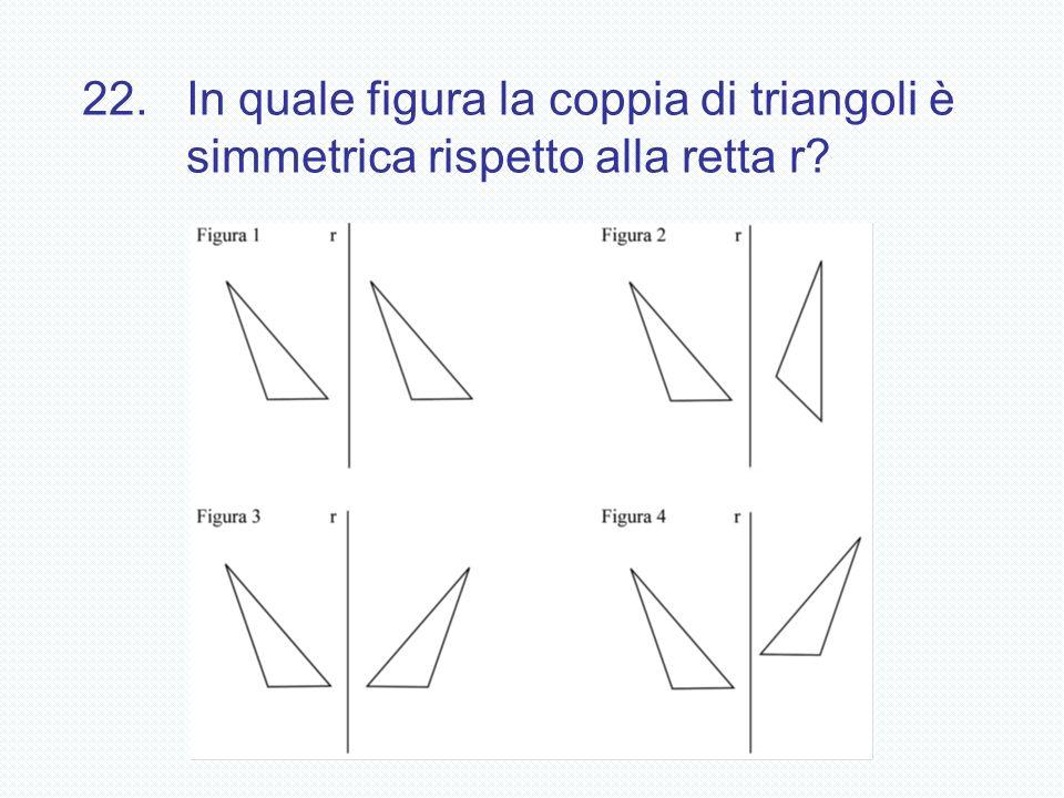 22.In quale figura la coppia di triangoli è simmetrica rispetto alla retta r?