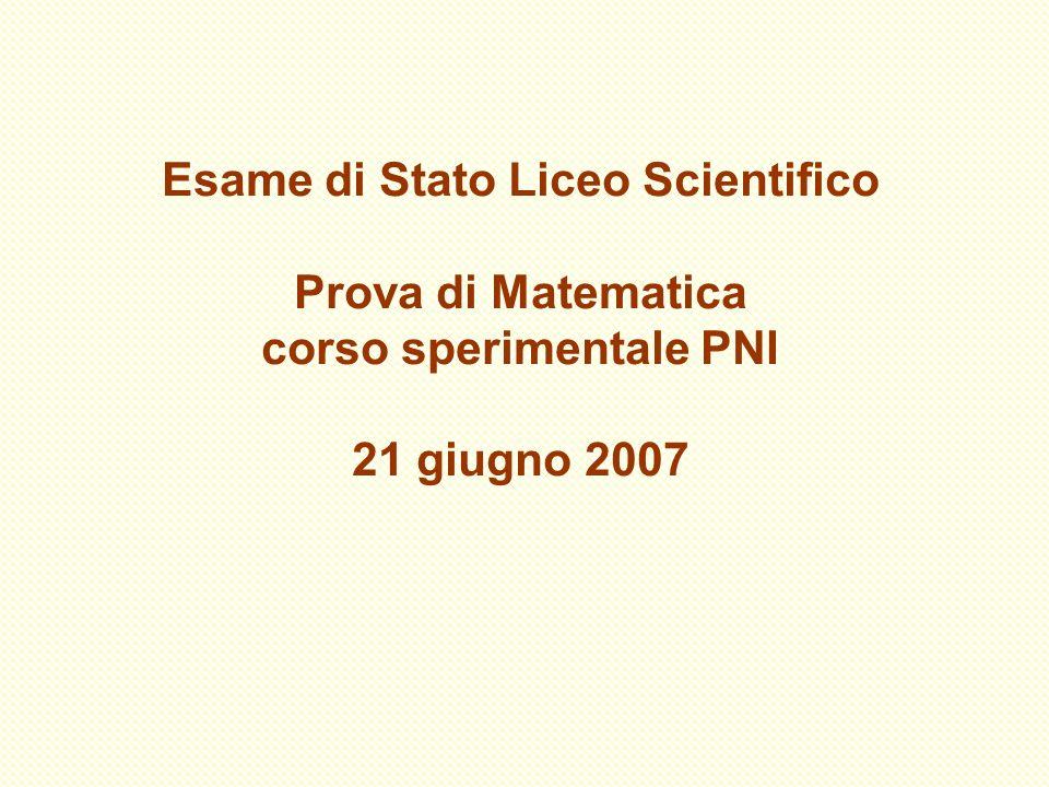 Esame di Stato Liceo Scientifico Prova di Matematica corso sperimentale PNI 21 giugno 2007
