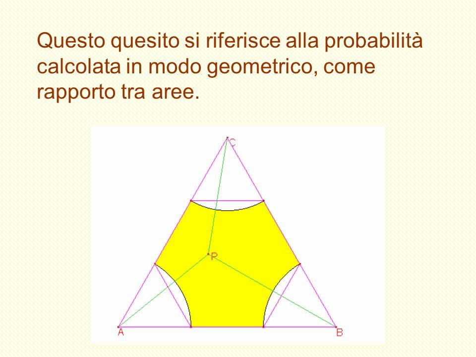 Questo quesito si riferisce alla probabilità calcolata in modo geometrico, come rapporto tra aree.
