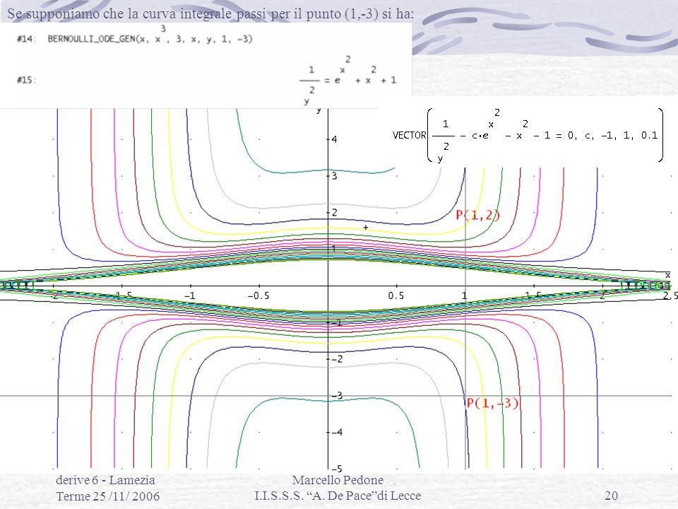 Eq.differenziali con derive 6 - Lamezia Terme 25 /11/ 2006 Marcello Pedone I.I.S.S.S. A. De Pacedi Lecce20 Se supponiamo che la curva integrale passi