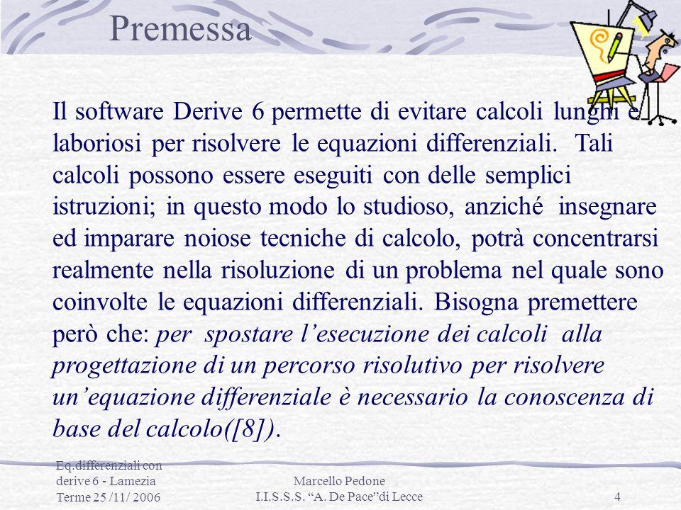 Eq.differenziali con derive 6 - Lamezia Terme 25 /11/ 2006 Marcello Pedone I.I.S.S.S. A. De Pacedi Lecce4 Il software Derive 6 permette di evitare cal