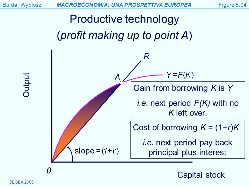 Burda, WyploszMACROECONOMIA: UNA PROSPETTIVA EUROPEA ©EGEA 2006 Figure 5.4 Output 0 Productive technology R Cost of borrowing K = (1+r)K i.e. next per