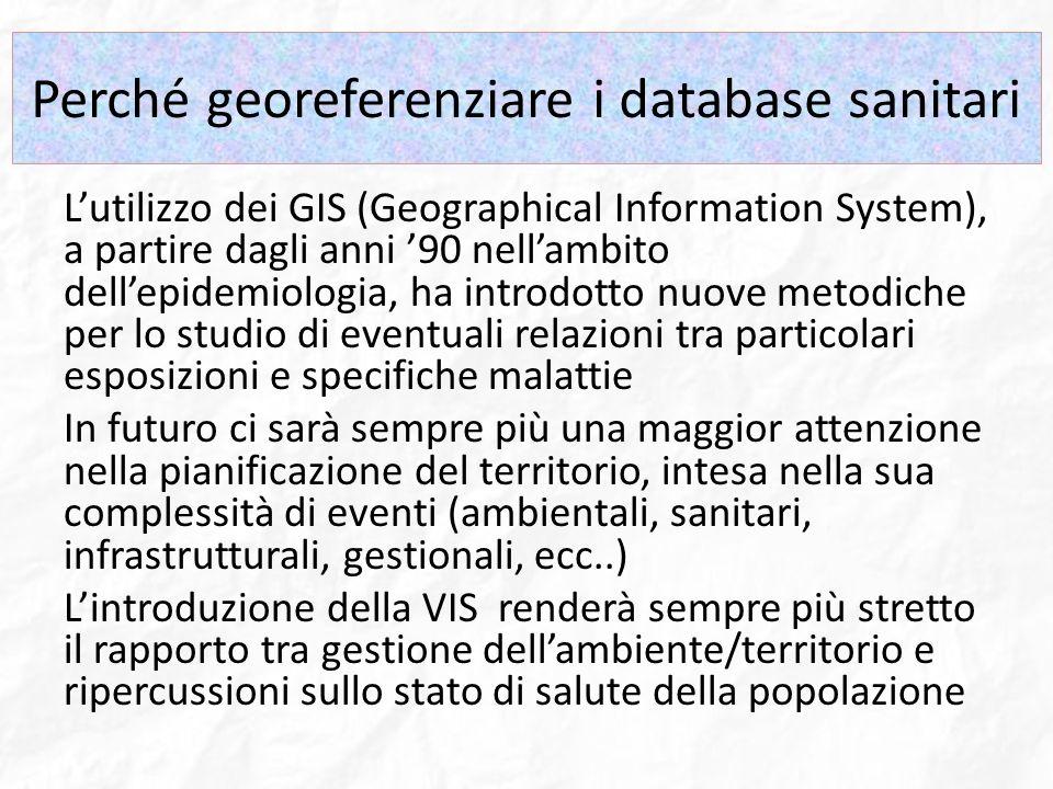 Perché georeferenziare i database sanitari Lutilizzo dei GIS (Geographical Information System), a partire dagli anni 90 nellambito dellepidemiologia,
