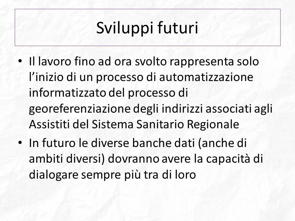 Sviluppi futuri Il lavoro fino ad ora svolto rappresenta solo linizio di un processo di automatizzazione informatizzato del processo di georeferenziaz