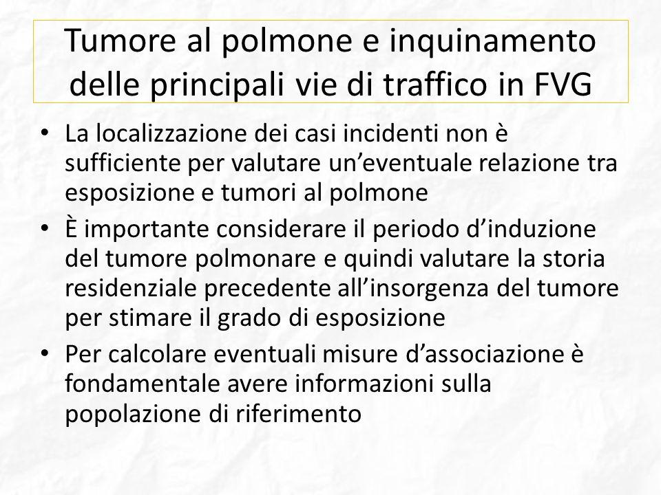 Tumore al polmone e inquinamento delle principali vie di traffico in FVG La localizzazione dei casi incidenti non è sufficiente per valutare uneventua