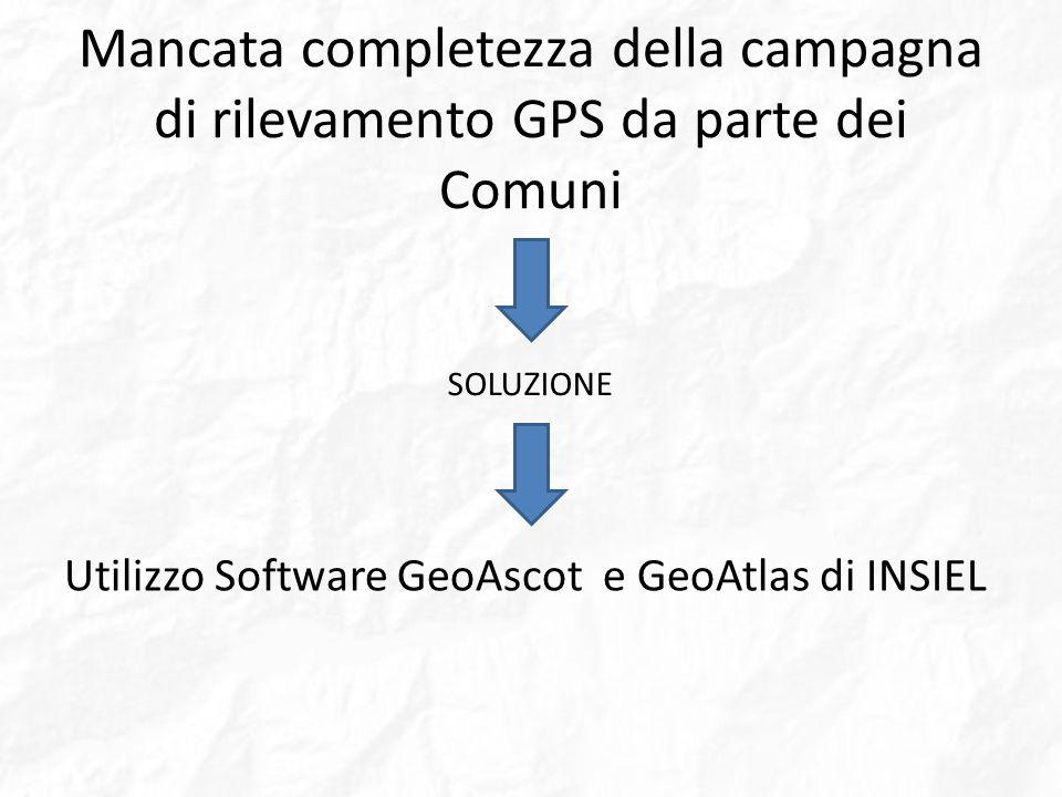 Mancata completezza della campagna di rilevamento GPS da parte dei Comuni Utilizzo Software GeoAscot e GeoAtlas di INSIEL SOLUZIONE
