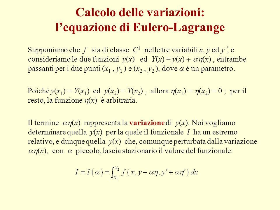 Supponiamo che f sia di classe C 1 nelle tre variabili x, y ed y, e consideriamo le due funzioni y(x) ed Y(x) = y(x) (x), entrambe passanti per i due