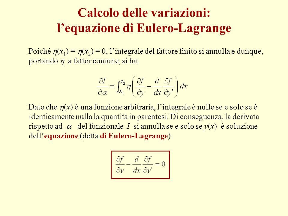 Poiché (x 1 ) = (x 2 ) = 0, lintegrale del fattore finito si annulla e dunque, portando a fattor comune, si ha: Dato che (x) è una funzione arbitraria