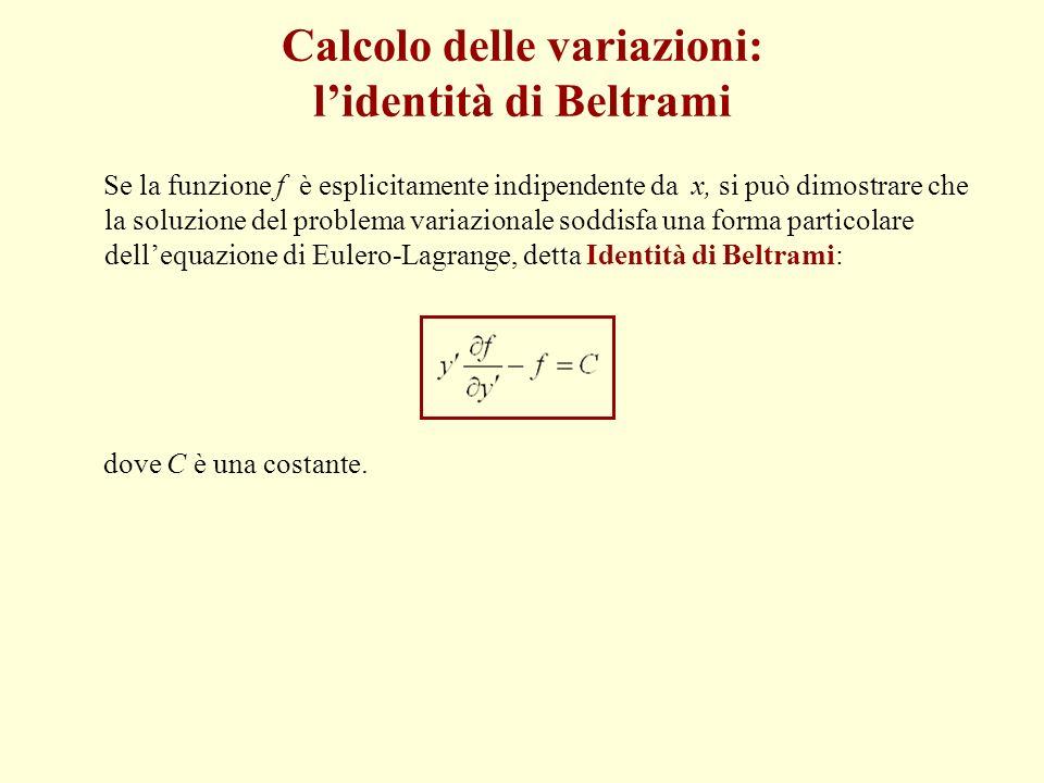 Calcolo delle variazioni: lidentità di Beltrami Se la funzione f è esplicitamente indipendente da x, si può dimostrare che la soluzione del problema v