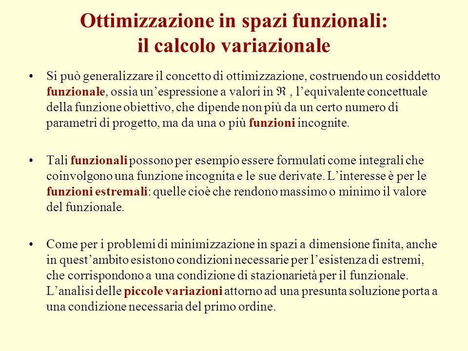 Ottimizzazione in spazi funzionali: il calcolo variazionale Si può generalizzare il concetto di ottimizzazione, costruendo un cosiddetto funzionale, o