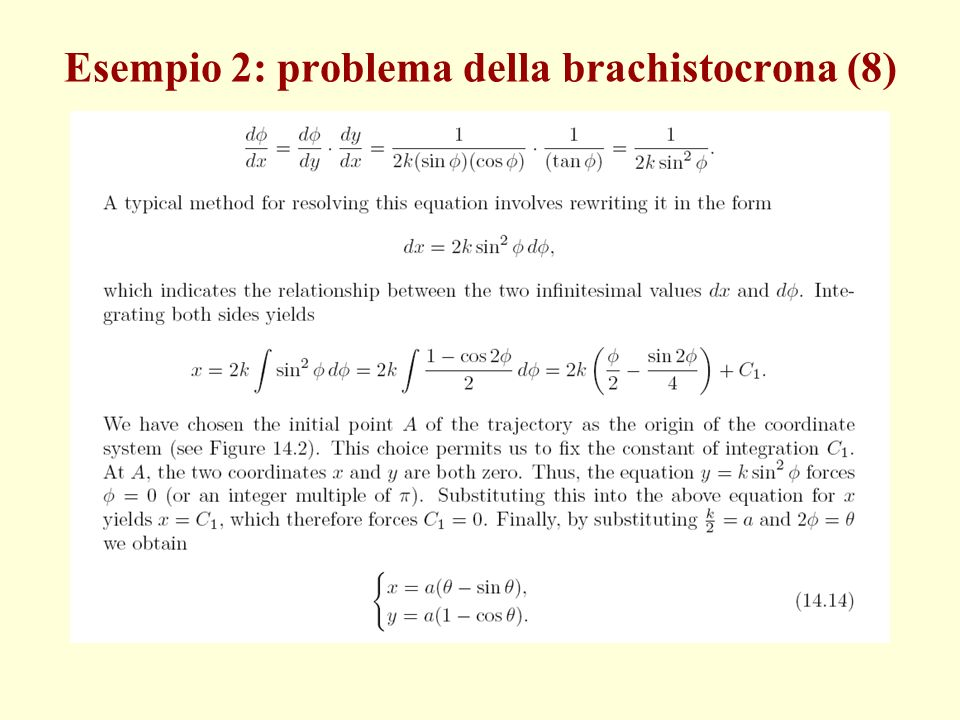 Esempio 2: problema della brachistocrona (8)