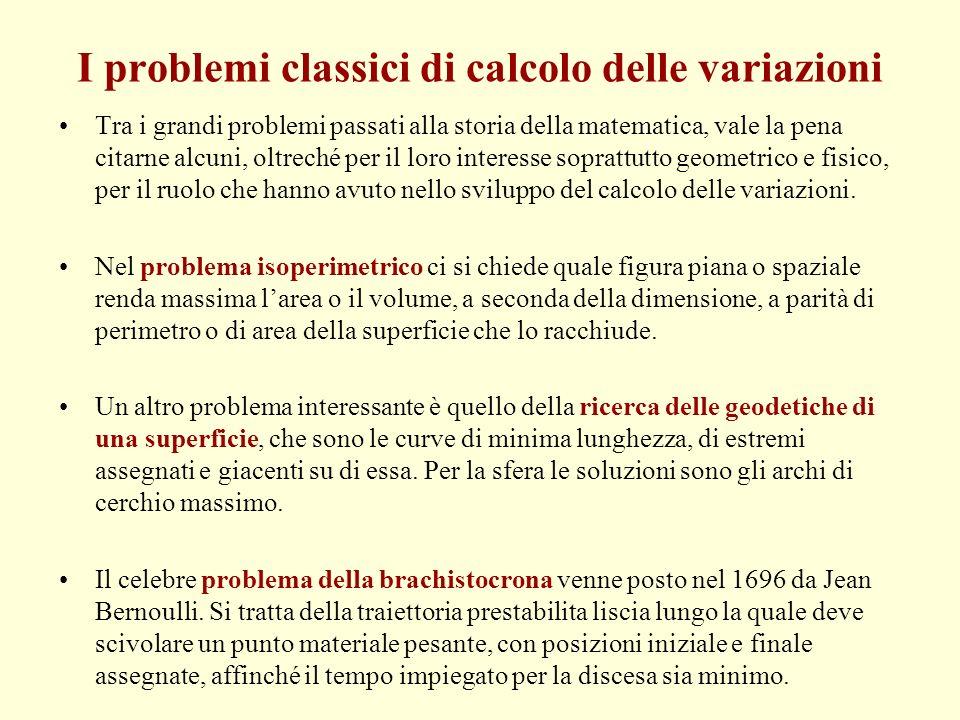 I problemi classici di calcolo delle variazioni Tra i grandi problemi passati alla storia della matematica, vale la pena citarne alcuni, oltreché per