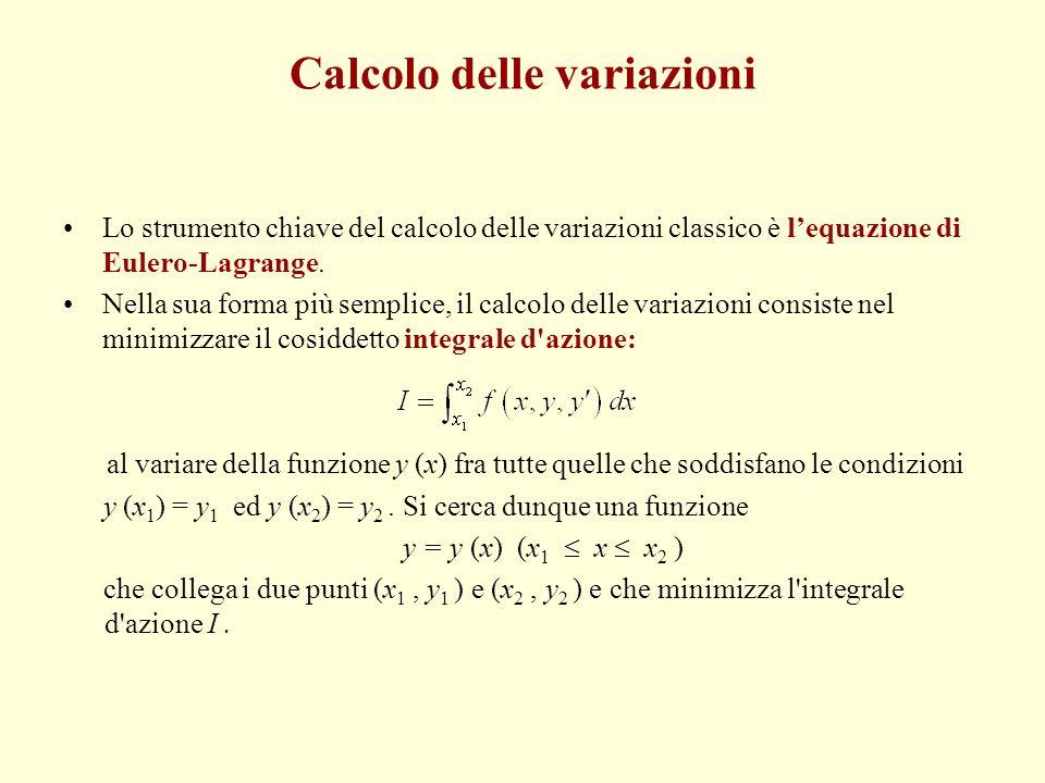Calcolo delle variazioni Nella sua forma più semplice, il calcolo delle variazioni consiste nel minimizzare il cosiddetto integrale d azione: al variare della funzione y(x) fra tutte quelle che soddisfano le condizioni: y (x 1 ) = y 1 ; y(x 2 ) = y 2.