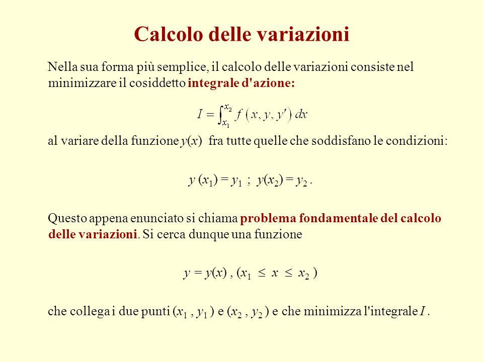 Calcolo delle variazioni Nella sua forma più semplice, il calcolo delle variazioni consiste nel minimizzare il cosiddetto integrale d'azione: al varia