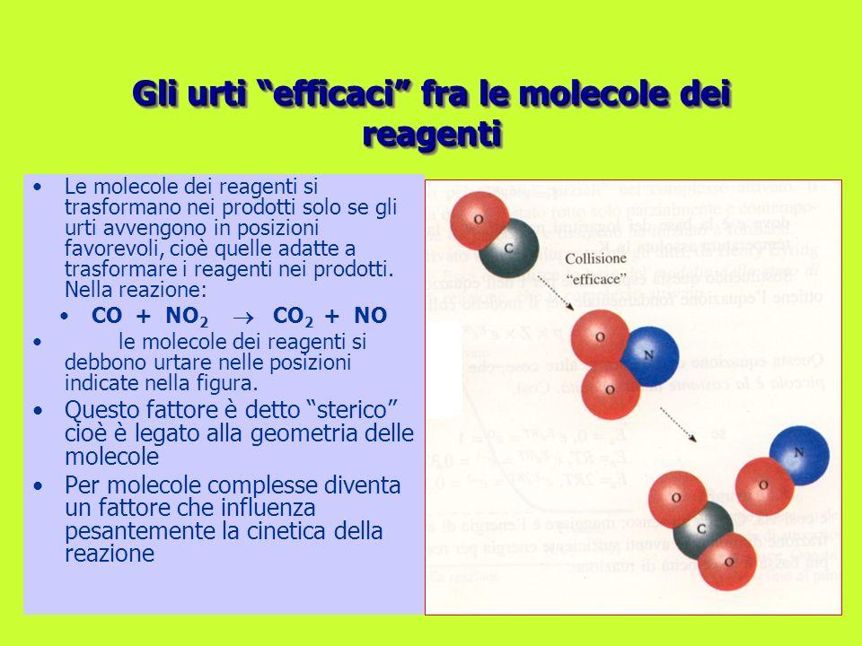 Le molecole dei reagenti si trasformano nei prodotti solo se gli urti avvengono in posizioni favorevoli, cioè quelle adatte a trasformare i reagenti n