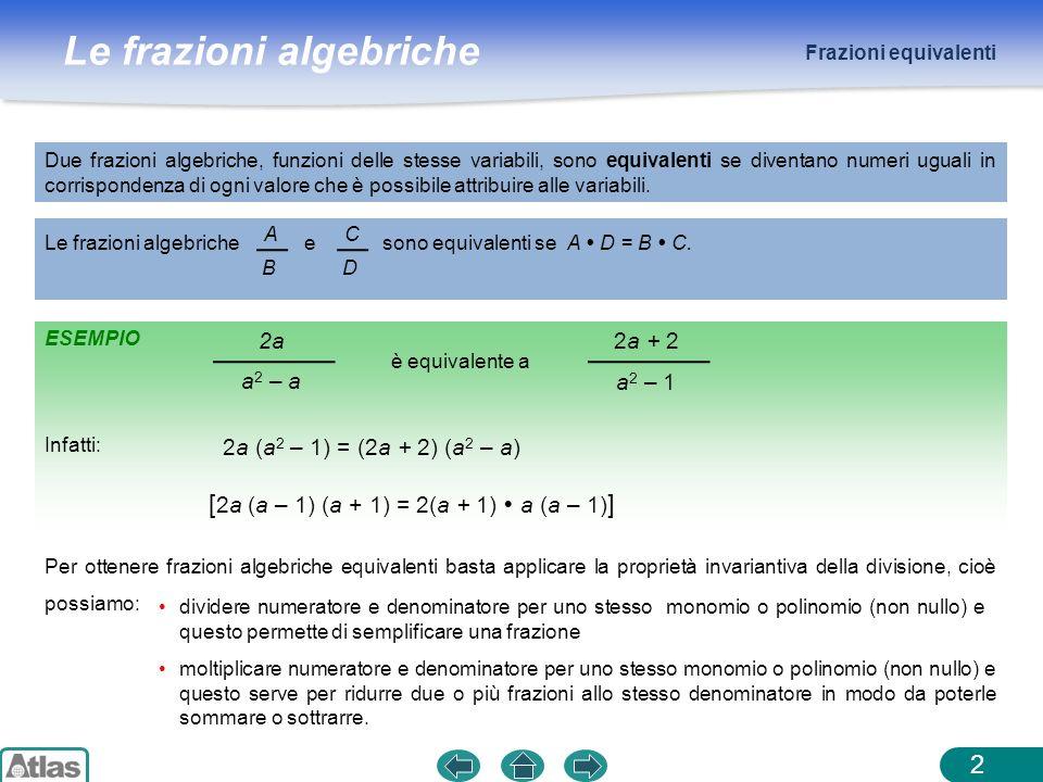 Le frazioni algebriche Frazioni equivalenti 2 Due frazioni algebriche, funzioni delle stesse variabili, sono equivalenti se diventano numeri uguali in