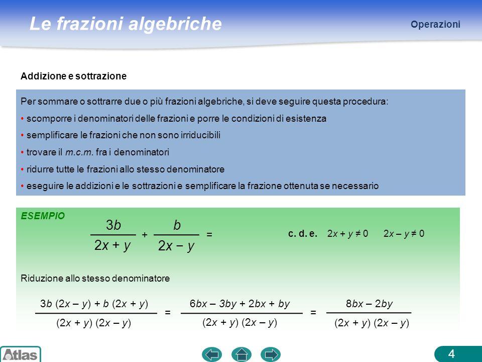 Le frazioni algebriche ESEMPIO Operazioni 5 Moltiplicazione La moltiplicazione di due frazioni algebriche si esegue moltiplicando tra loro i numeratori e i denominatori e semplificando poi la frazione ottenuta.