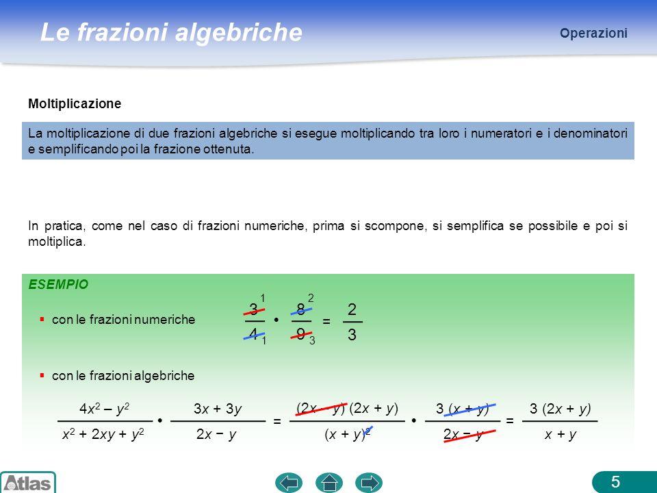 Le frazioni algebriche ESEMPIO Operazioni 5 Moltiplicazione La moltiplicazione di due frazioni algebriche si esegue moltiplicando tra loro i numerator