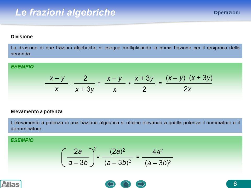 Le frazioni algebriche ESEMPIO Operazioni 6 Divisione La divisione di due frazioni algebriche si esegue moltiplicando la prima frazione per il recipro