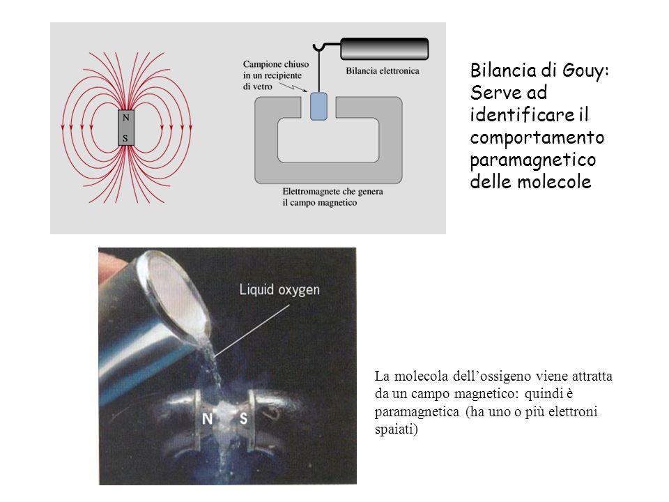 Bilancia di Gouy: Serve ad identificare il comportamento paramagnetico delle molecole La molecola dellossigeno viene attratta da un campo magnetico: q