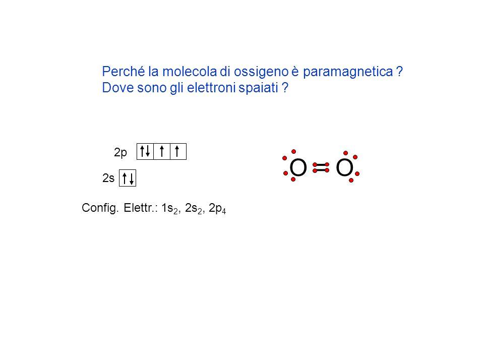 O = O Perché la molecola di ossigeno è paramagnetica ? Dove sono gli elettroni spaiati ? 2s 2p Config. Elettr.: 1s 2, 2s 2, 2p 4
