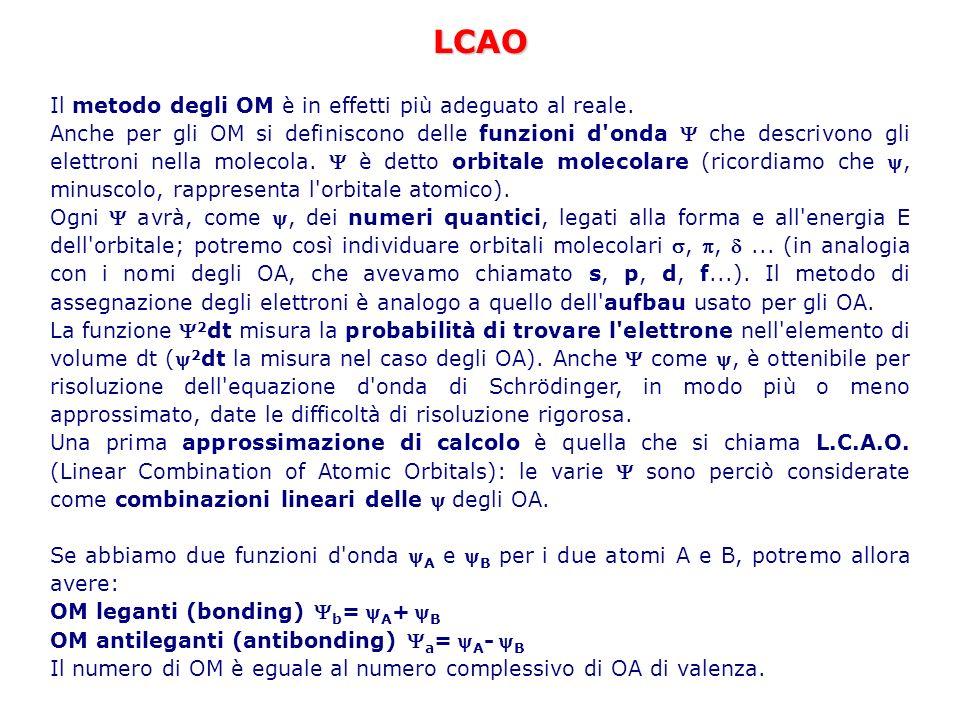 LCAO Il metodo degli OM è in effetti più adeguato al reale. Anche per gli OM si definiscono delle funzioni d'onda che descrivono gli elettroni nella m
