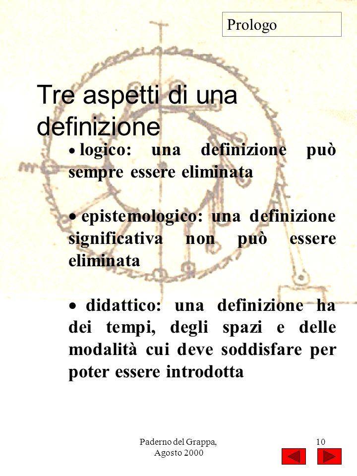 Paderno del Grappa, Agosto 2000 10 Prologo Tre aspetti di una definizione logico: una definizione può sempre essere eliminata epistemologico: una defi