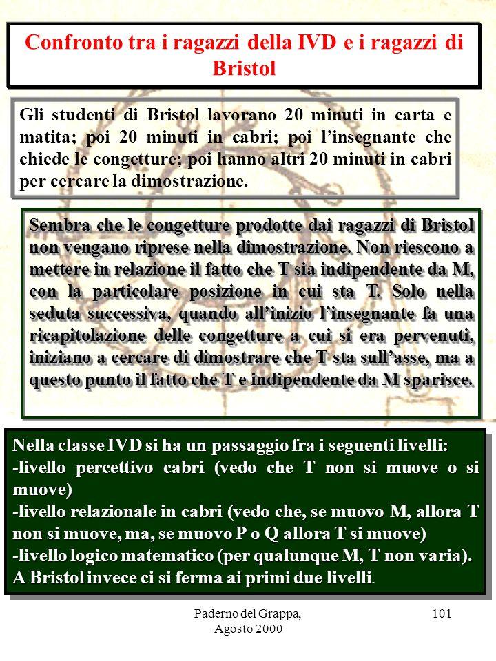 Paderno del Grappa, Agosto 2000 101 Confronto tra i ragazzi della IVD e i ragazzi di Bristol Gli studenti di Bristol lavorano 20 minuti in carta e mat