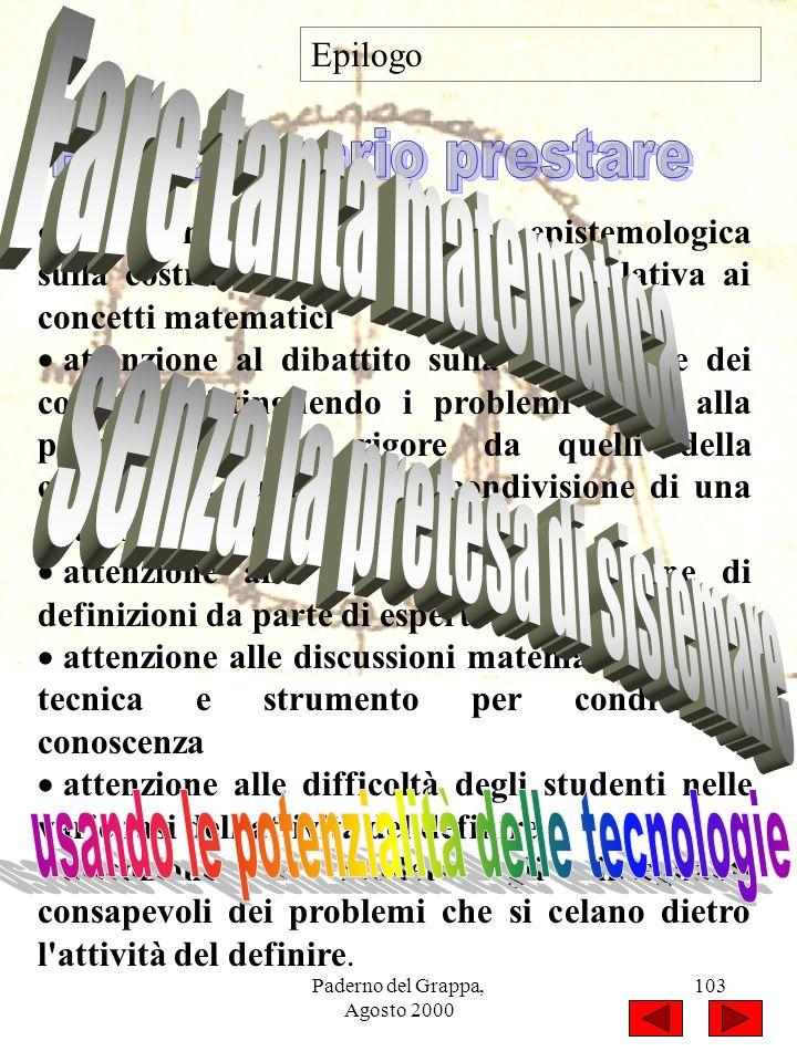 Paderno del Grappa, Agosto 2000 103 Epilogo attenzione alla ricerca storico-epistemologica sulla costruzione della conoscenza relativa ai concetti mat