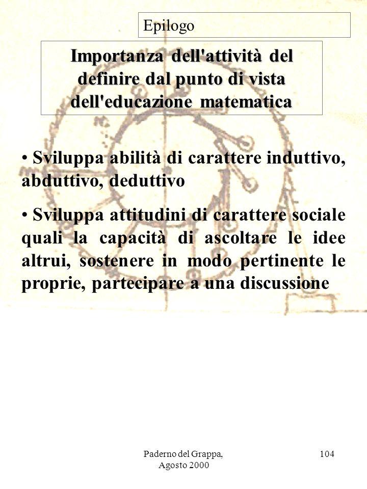 Paderno del Grappa, Agosto 2000 104 Importanza dell'attività del definire dal punto di vista dell'educazione matematica Epilogo Sviluppa abilità di ca