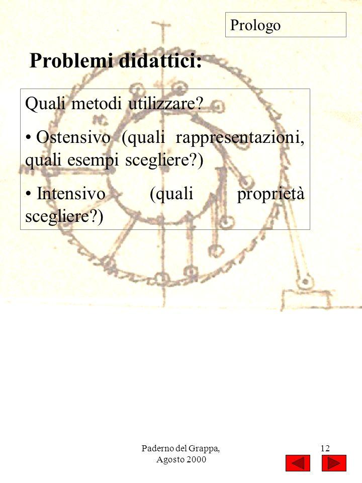 Paderno del Grappa, Agosto 2000 12 Quali metodi utilizzare? Ostensivo (quali rappresentazioni, quali esempi scegliere?) Intensivo (quali proprietà sce