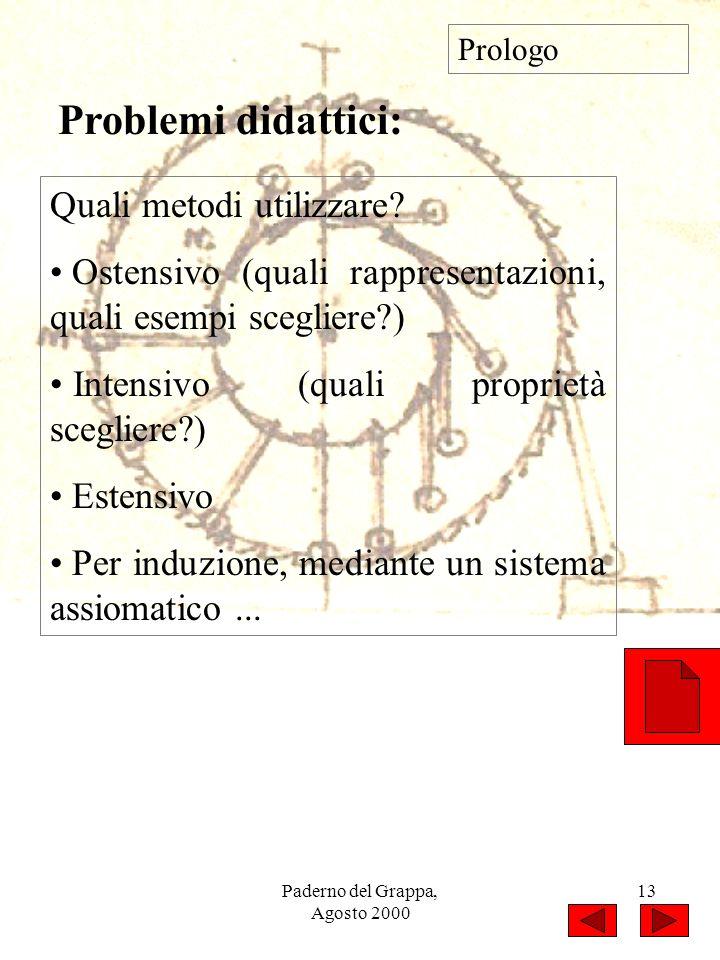 Paderno del Grappa, Agosto 2000 13 Quali metodi utilizzare? Ostensivo (quali rappresentazioni, quali esempi scegliere?) Intensivo (quali proprietà sce