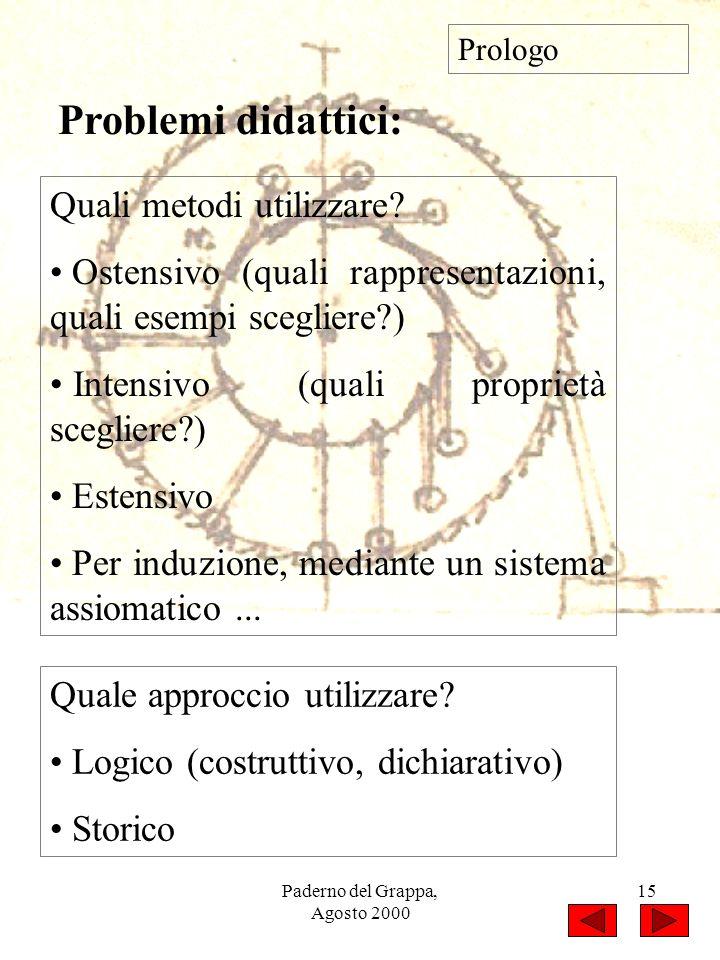 Paderno del Grappa, Agosto 2000 15 Quali metodi utilizzare? Ostensivo (quali rappresentazioni, quali esempi scegliere?) Intensivo (quali proprietà sce
