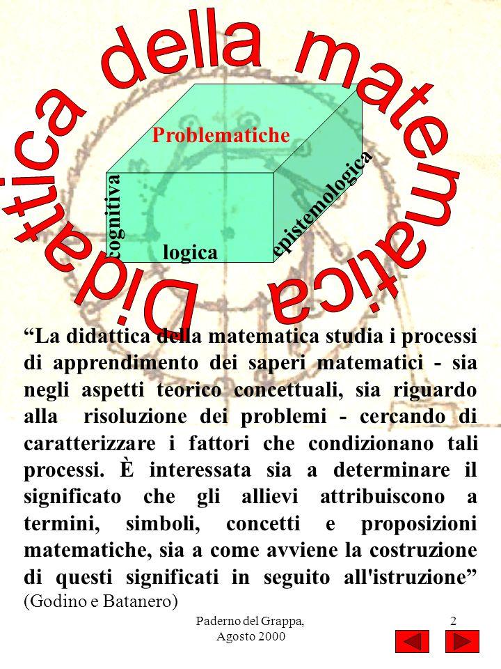 Paderno del Grappa, Agosto 2000 2 cognitiva logica epistemologica Problematiche La didattica della matematica studia i processi di apprendimento dei s