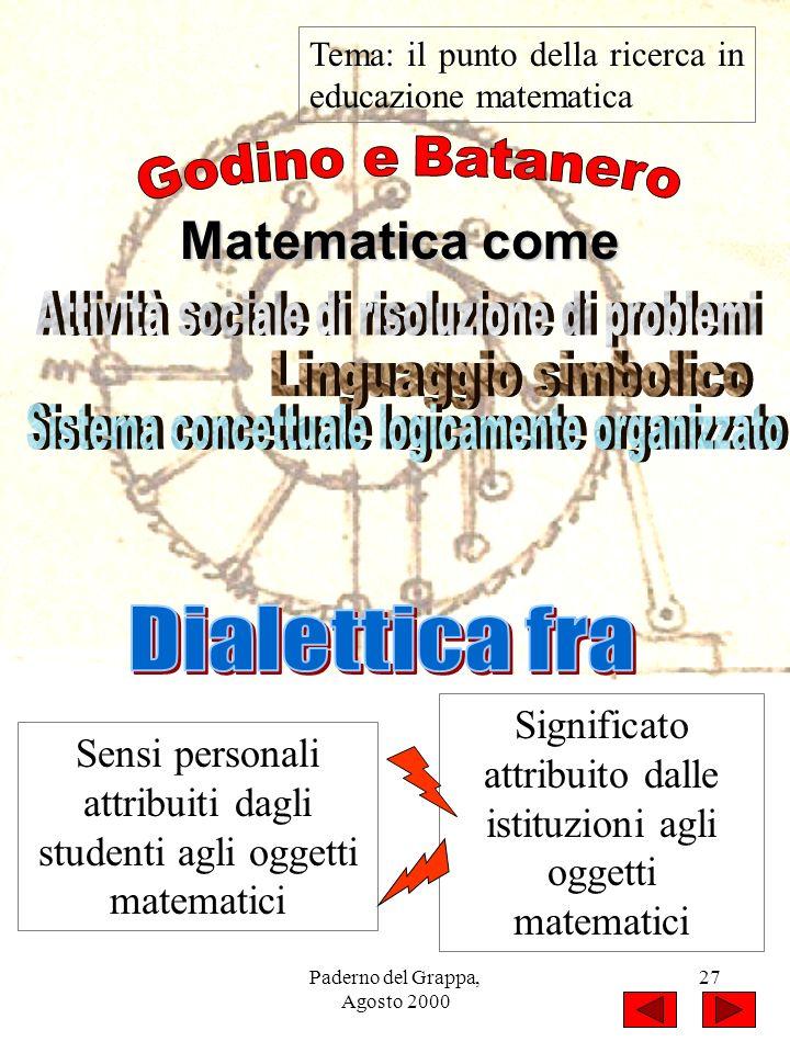 Paderno del Grappa, Agosto 2000 27 Tema: il punto della ricerca in educazione matematica Matematica come Sensi personali attribuiti dagli studenti agl
