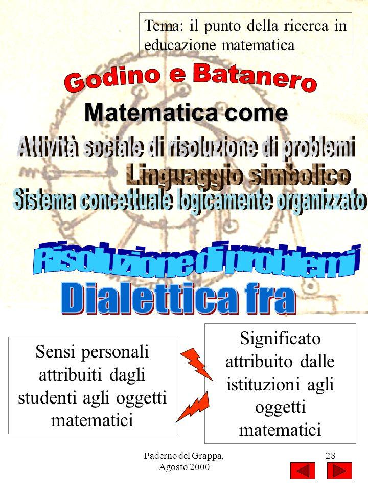 Paderno del Grappa, Agosto 2000 28 Tema: il punto della ricerca in educazione matematica Matematica come Sensi personali attribuiti dagli studenti agl